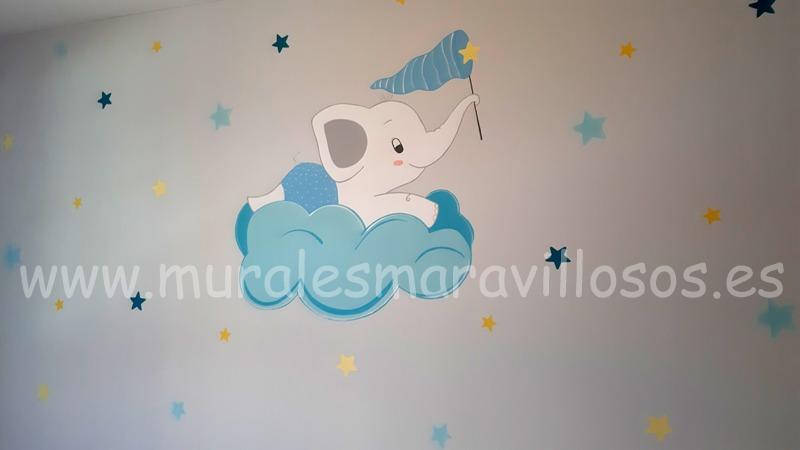 habitacion infantil con elefante