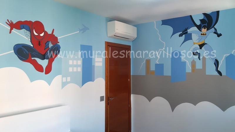 mural batman spiderman