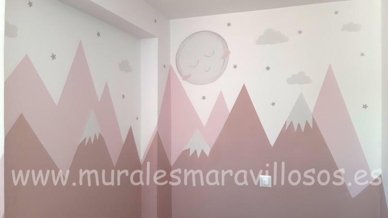 pintar montañas rosas dormitorio infantil