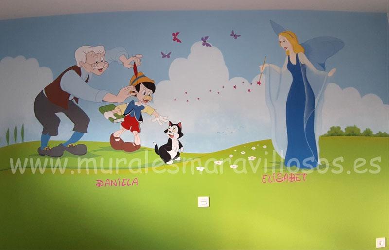 pinocho mural infantil